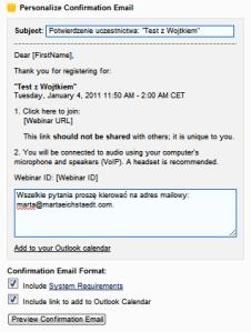 GoToWebinar, test programu do webcastów, potwierdzenie zaproszenia