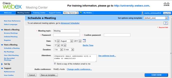 Webex Meeting zakladanie spotkania