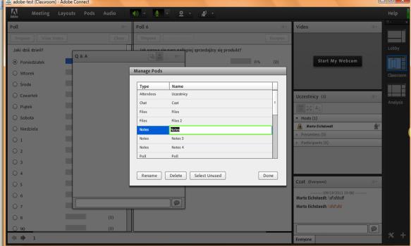 Adobe Connect 8 zmiana nazw podsow